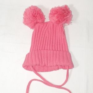 H&M poof ears cap with chin ties size 6-12 mo